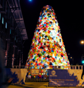 Christmas Tree of Recycled Plastic Bags made by artists Luzinterruptus.